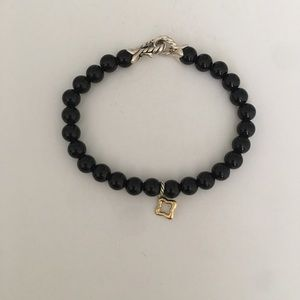 David Yurman onyx bracelet with 14k gold star!